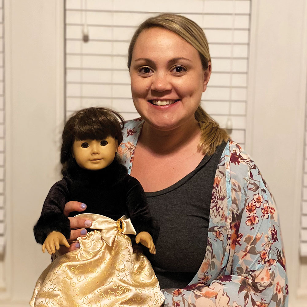 Julie Bartucca with her Samantha doll, circa 2021