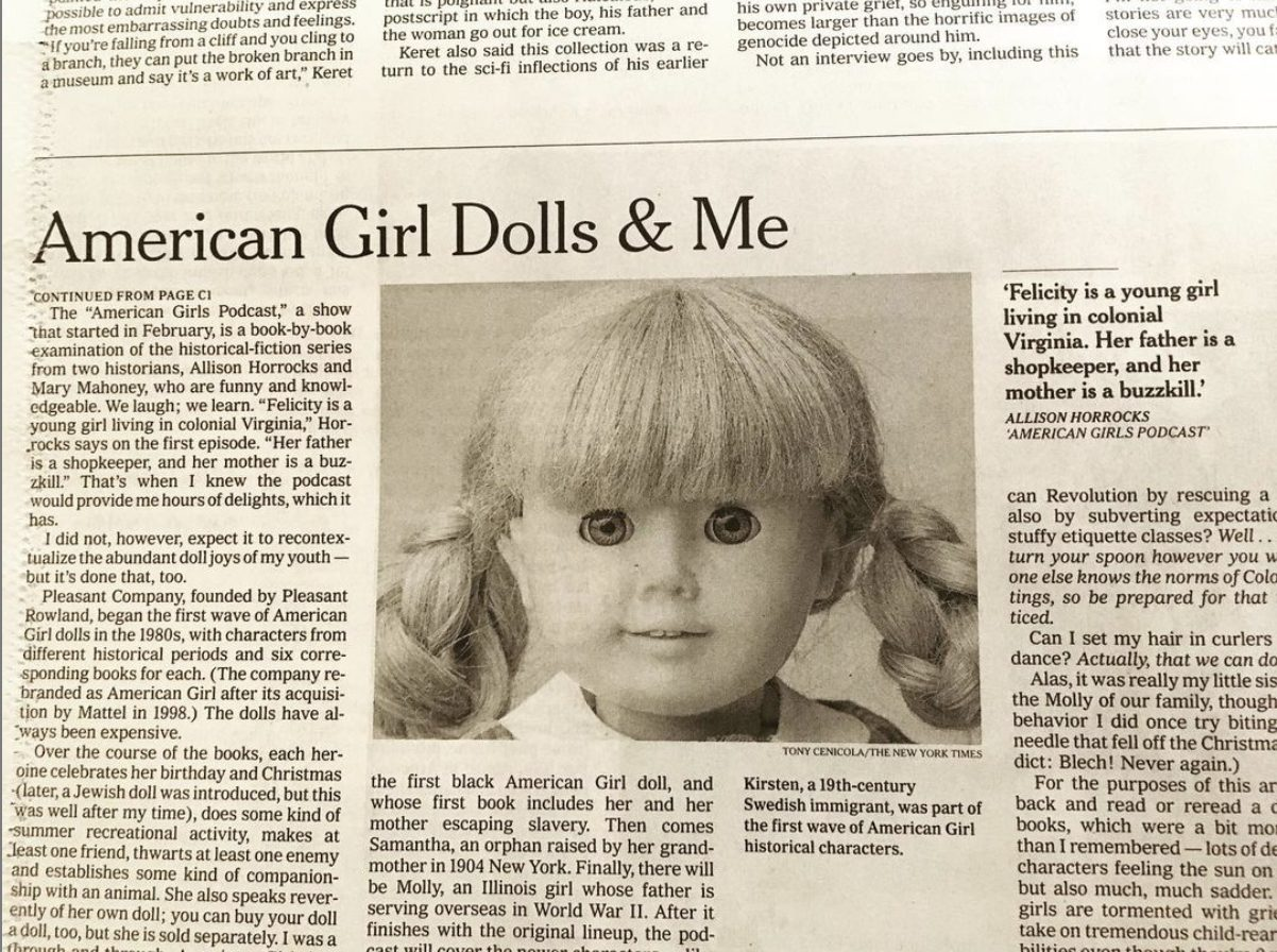 New York Times Article, American Girl Doll and Me