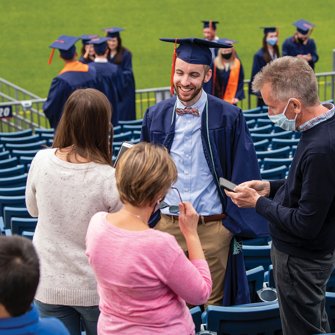 An engineering grad at Saturday's 2020 ceremony