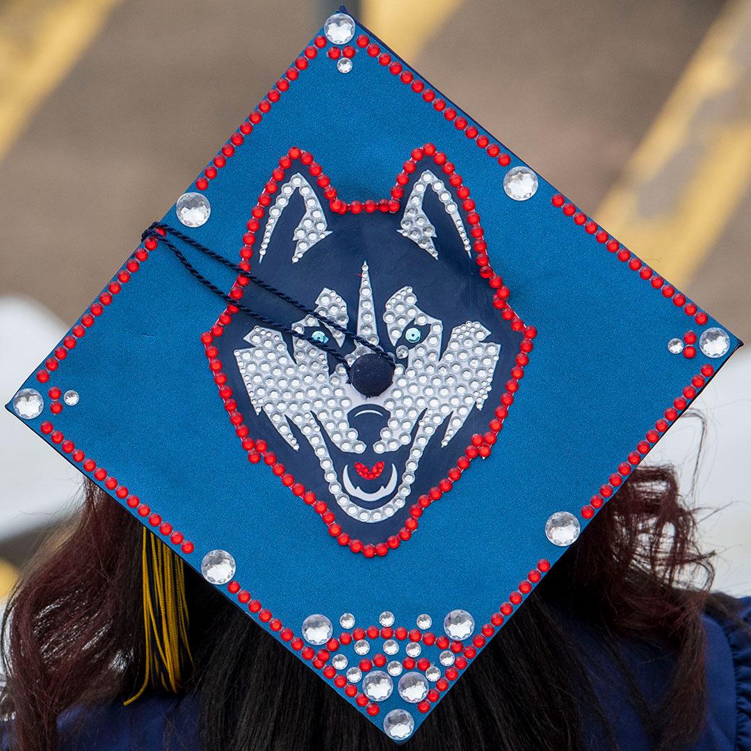 decorative grad cap with bejeweled Husky logo