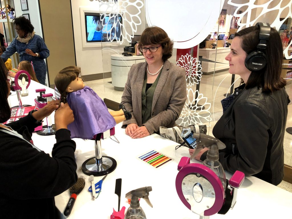 Recording live at the American Girl store in New York City