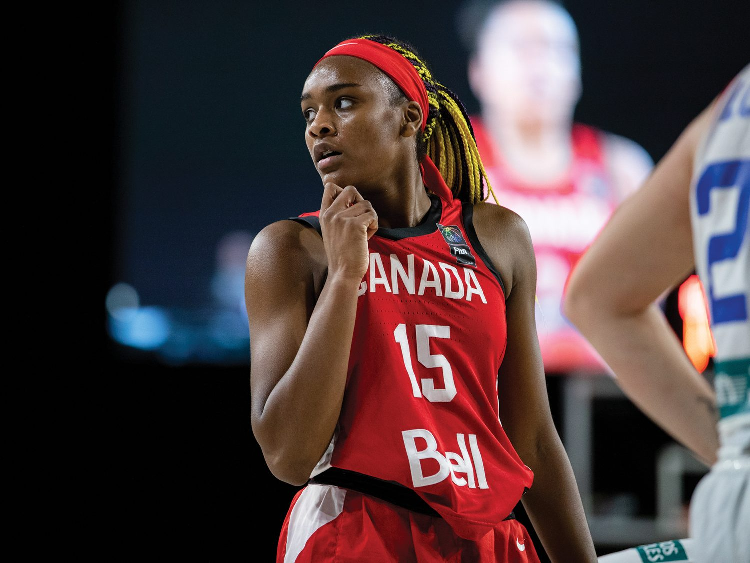 Current Husky Aaliyah Edwards in her Canada Olympic uniform