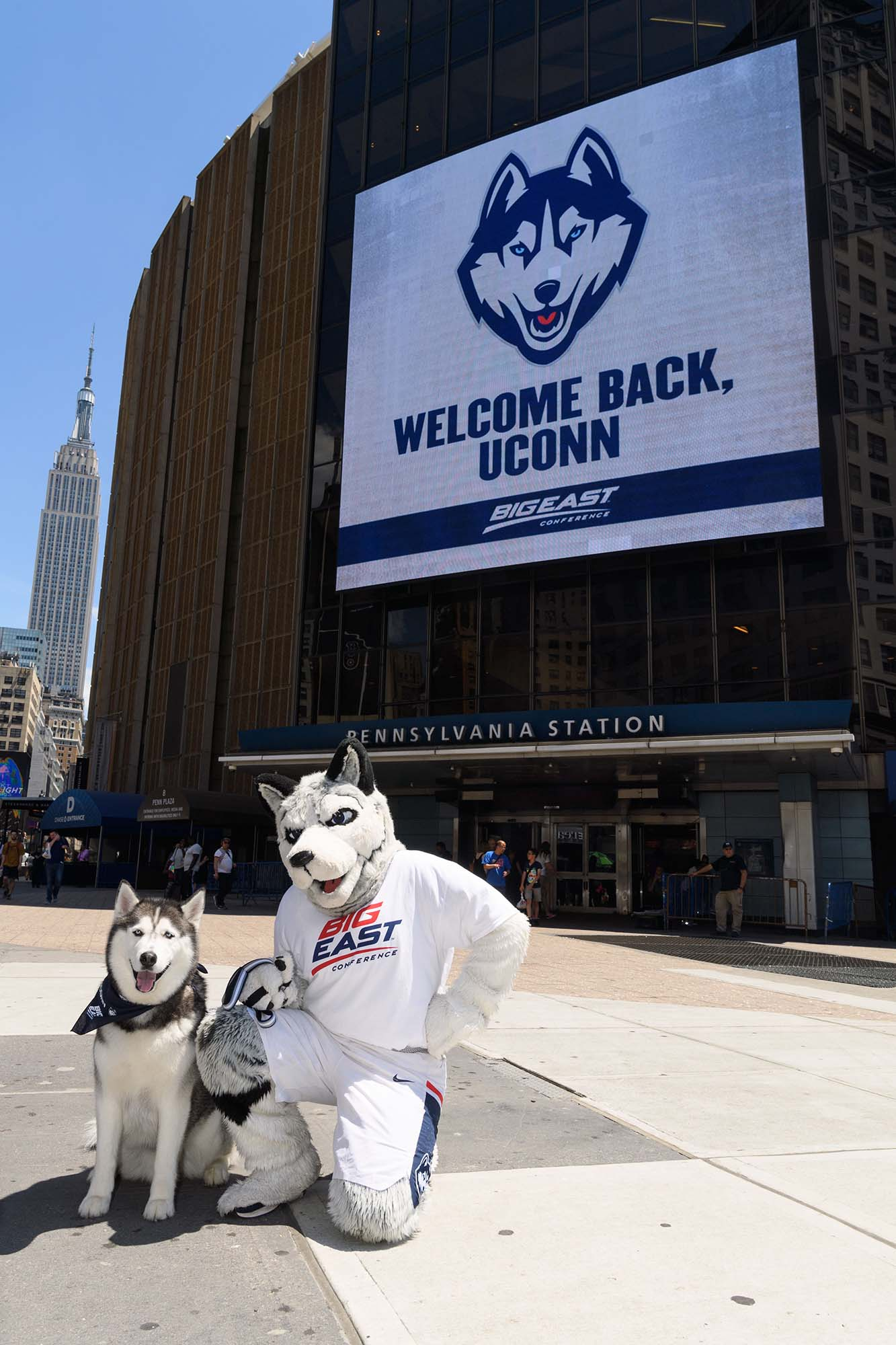 Jonathan the husky with mascot in front of giant LED sign in Pennsylvania Station, NYC