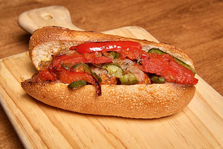 vegan sausage and pepper grinder