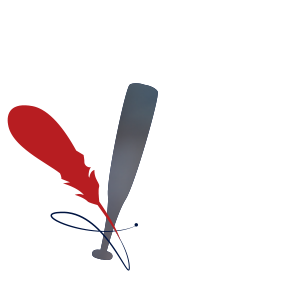 Icon of a quill intertwined with a baseball bat