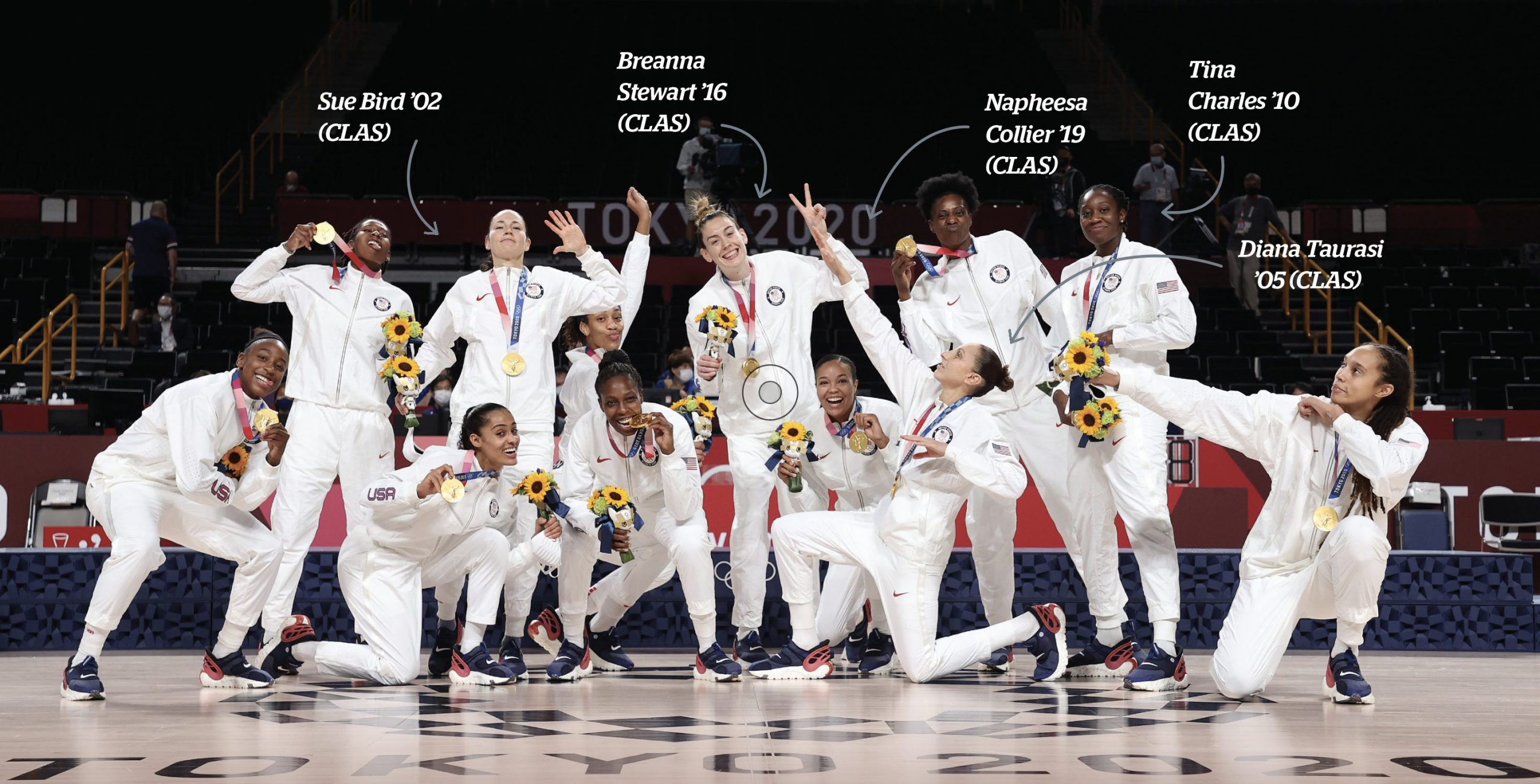 the entire USA women's Basetball team posing with sunflowers and smiles in the Tokyo 2020 olympics after winning the gold