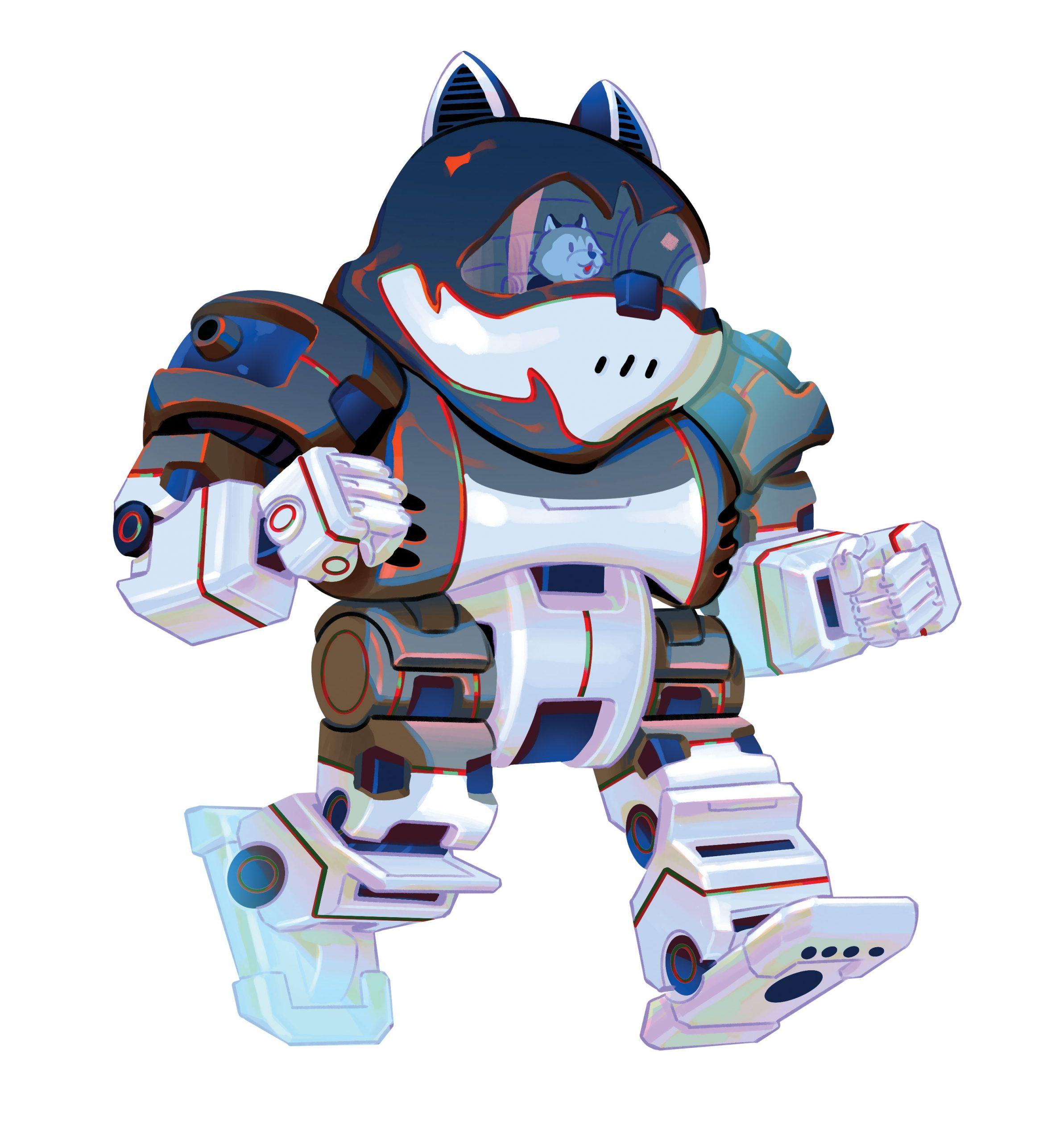 Illustration of a cartoon Jonathon piloting a UConn Husky giant robot