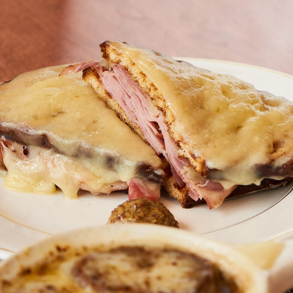 French onion soup and a croque monsieur or madame at Bistro on Union Street