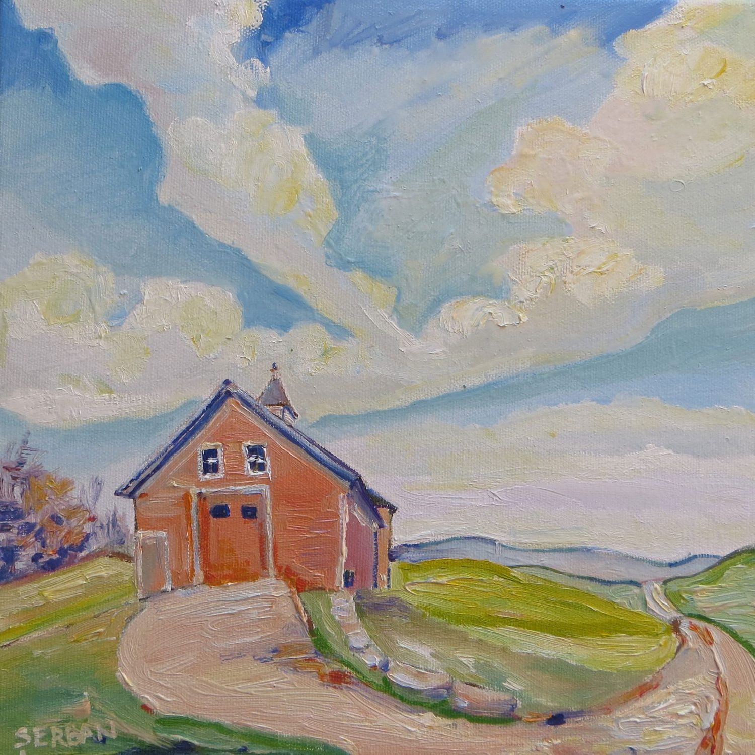 a painting of the Jacobson Barn at Storrs, UConn by artist Blanche Serban