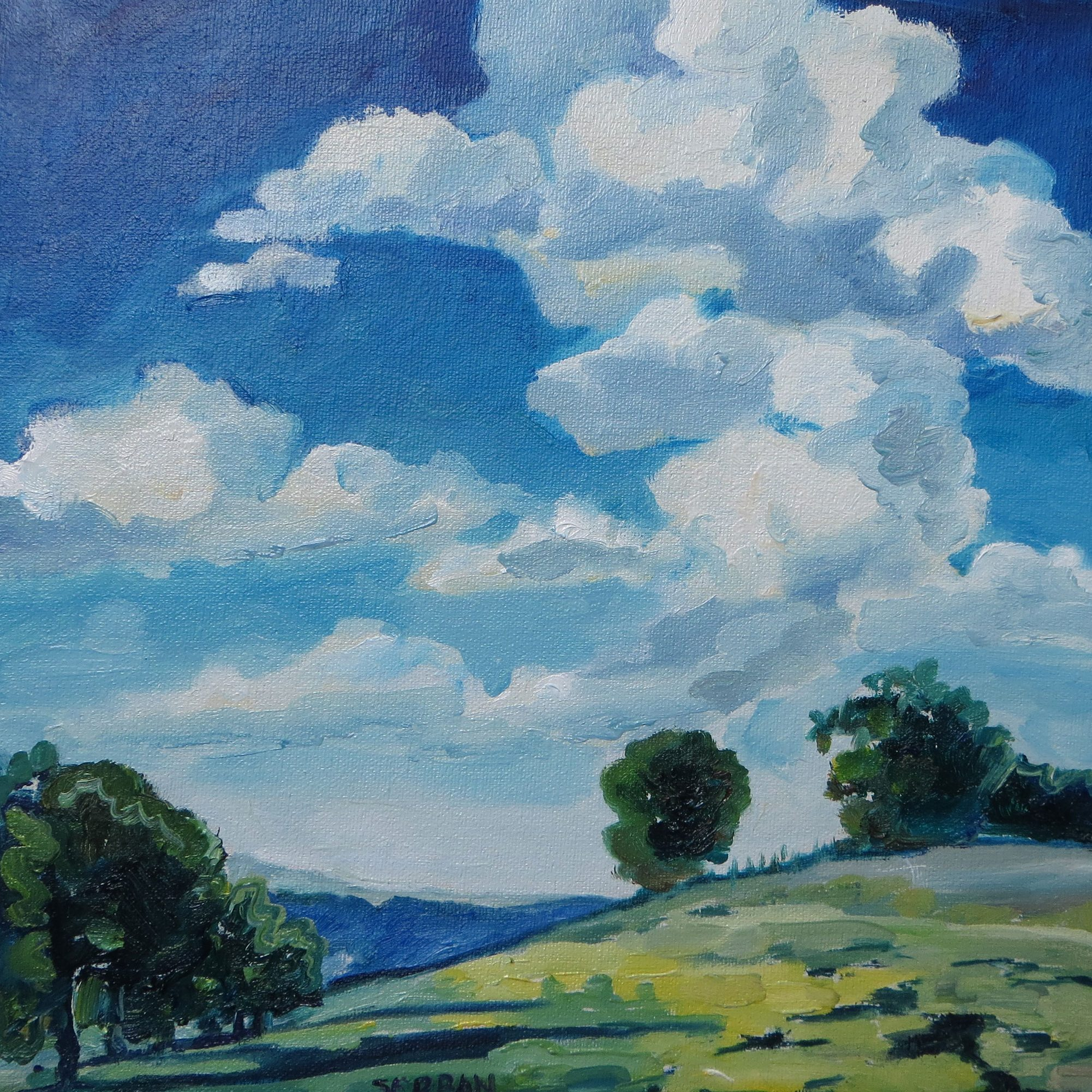 painting of clouds titled, White spirals build the air over the hill